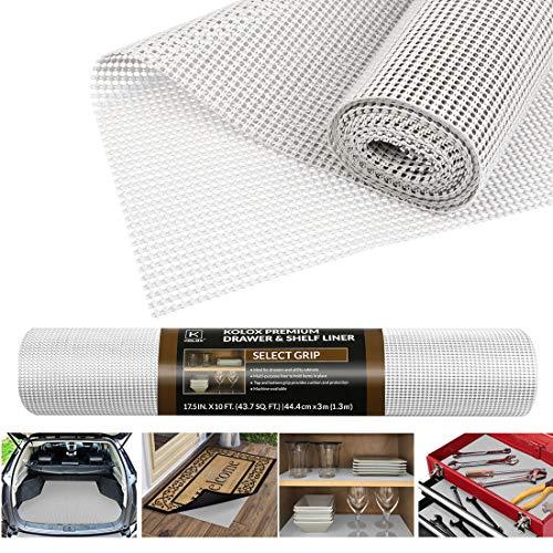 Besmall Antirutschmatte Mehrzweck, Anti Rutsch Teppichunterlage Schubladenmatte Teppichstopper Rutschschutz Unterlage für Teppich Schubladen Auto Küche, Zuschneidbar 45x300cm (Weiß)