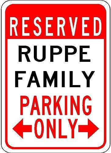 VinMea Ruppe Family Parking – personalisierter Nachname – 17,8 x 25,4 cm hochwertiges Aluminiumschild