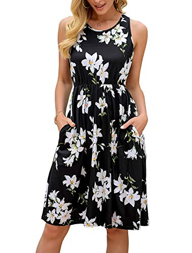 OURS Womens Casual Dresses Spring Sleeveless Floral Midi Dress Black L