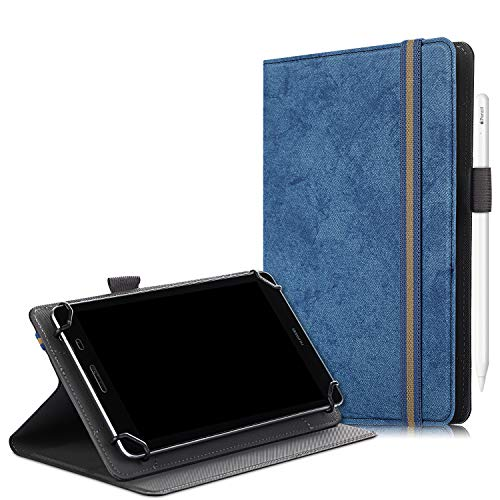 SINSO Universal Case for 7-8 Inch Tablet, Stand Folio Case Cover for All 7-8 Inch Tablet (Samsung Tab, iPad Mini, Fire 7-8,Lenovo Tab E7 7',Huawei MediaPad M5 Lite 8' & Other 7-8' Tablets), Navy Blue