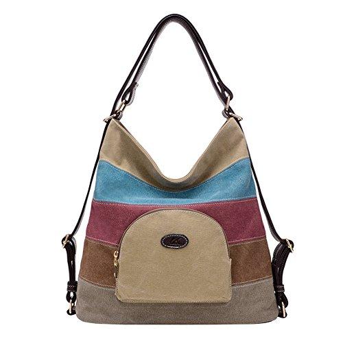 PB-SOAR Damen Vintage Canvas Schultertasche Rucksack Handtasche Freizeittasche Vielseitige Tasche (Khaki)