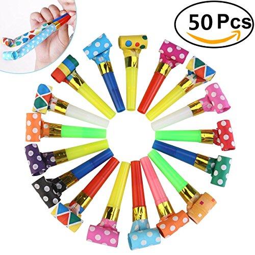 50 Packs Musik Blowouts Whistles Toys für Geburtstagsfeier Gefälligkeiten, Weihnachtsfeier, Kinder Party, Halloween, Party Zubehör, Neujahr Party Noisemakers von Chapter Seven