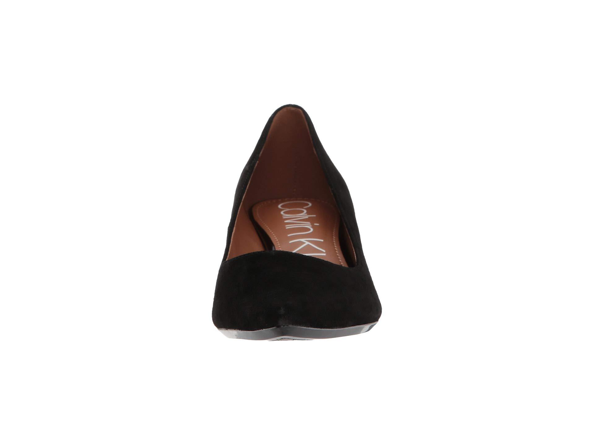 Gabrianna Calvin leather Black Pump Klein Suede vxFOP5Cqw