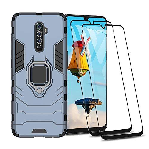 HAOYE Hülle für Realme X2 Pro + 2 Panzerglas, Handyhülle mit 360 Grad Finger-Halter Kickstand für Magnetische KFZ-Halterung, Silica TPU + Harter PC Hybrid Schutzhülle Cover.Navy blau