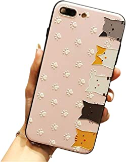 BONTOUJOUR iPhone XR 6.1 inch Case Super Cute Cartoon Animal Pattern Hard PC Back Soft TPU Silicon Cover Case For Girls Strong Protection - Pink cat face