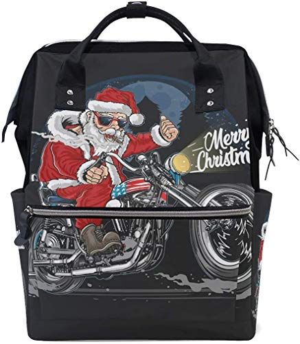 Tour Motocicle Santa Claus Diaper Bag Mom Dad Travel Backpack Multifunction Waterproof Canvas Large Capacity Baby Bag Maternity Nappy Bags For Baby Care