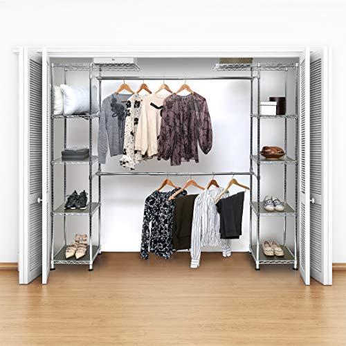 """Seville Classics Double-Rod Expandable Clothes Rack System Closet Organizer, 58"""" to 83"""" W x 14"""" D x 72"""", Chrome"""