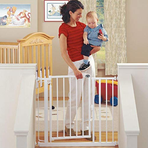 North States 38.75' Wide Auto-Close Baby Gate: Automatic close and lock gate. Pressure or hardware mount. Fits 29.5'-38.75' wide (30' tall, Soft White)