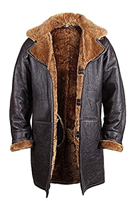 BRANDSLOCK Vintage Mens Shearling Sheepskin Brown Leather Duffle Coat (XL, Brown)