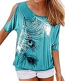 YOINS Camicetta Donna Estate Camicia Elegante Manica Corta Spalle Scoperte Bluse Estiva Floreale Top Maglietta con Motivo Blu Chiaro S
