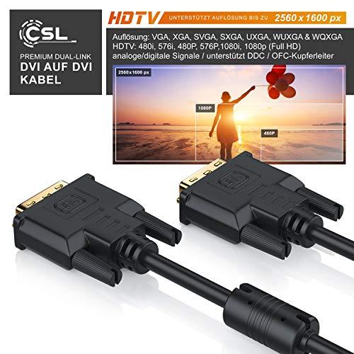 CSL – 2m DVI zu DVI Kabel | Dual Link 24+1 | vergoldete Kontakte | HDTV Auflösungen bis 2560×1600 | 2x Ferritkern | verzinnte OFC Kupferleiter | x.v.Color - 4