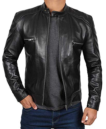Decrum Black Leather Jacket Men - Slim Fit Biker Jacket Men | [1100514] Luis, L
