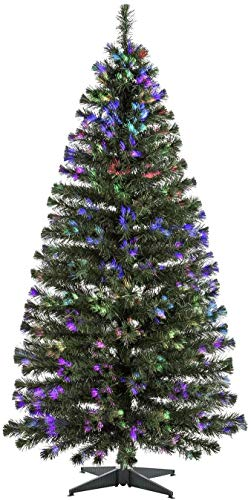 BPIL Green Christmas Xmas Tree With Multicolor Fiber Optics and Metal Stand...