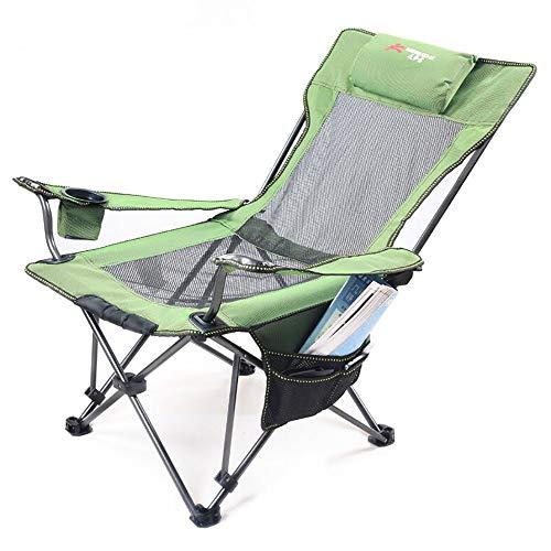 ASDAD Outdoor Folding Chair,Camping Reclining Bed Chair High Back Support Lie Down Pockets Cup Holder Armrest Portable Beach Garden Camping Travel Seat Lightweight