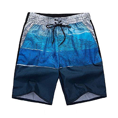 U/A Pantalones de playa para hombre, pantalones de cinco puntos sueltos, pantalones deportivos de secado rápido, pantalones cortos informales para hombre Azul azul 5X-Large