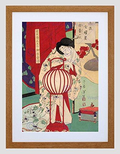 Wee Blauwe Coo Culturele Abstract Japan Geisha Traditie Jurk Yoshitoshi Omlijst Muur Art Print