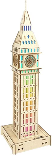 ZLD Toy 3D Puzzle, British Big Ben, Farbeful Lights, Blautooth Speakers, Wooden Crafts, Handmade Gifts, Home Decorations