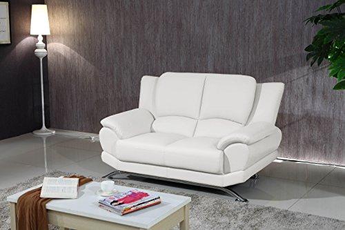 Matisse Milano Contemporary White Leather Sofa Set 4