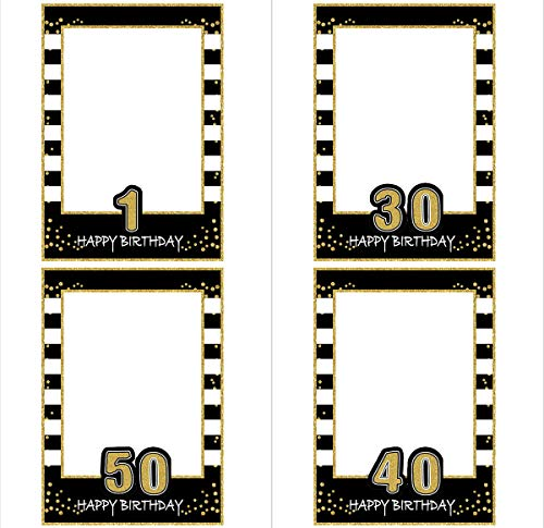 SWYOUN Glitter Happy Birthday Party Frame Photo Prop 1st 18th 21st 30th 40th 50th 60th 70th Birthday DIY Picture For All Ages