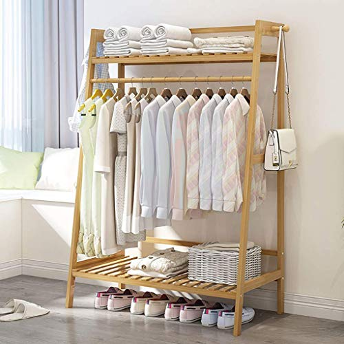 Bamboo Clothing Garment Rack for Hanging Clothes,Clothes Drying Shelf for Jacket Pant and Coat Storage in Bedroom. (Size : 100 * 40 * 140cm)