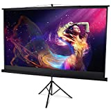 Display4top 100' Large Tripod Projector Screen With Stand Portable Foldable For Home Theater Cinema Indoor Outdoor Projector Movie Screen,Black (16:9,100')