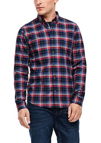 s.Oliver Herren Slim: Hemd mit Karomuster Dark Blue Check L