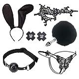 SUNSHNE 2020 New 6Pcs BDSṁ Furry Αṇäl Plüg and Headband Ears Lace Masquerade Mäśḱ NǐpplѐCǒvѐrs Bäll Gag Six to-ys Cósplǎy Ǎd-ült Ṡêx Tóy Six to-ys Cọuplês Kit