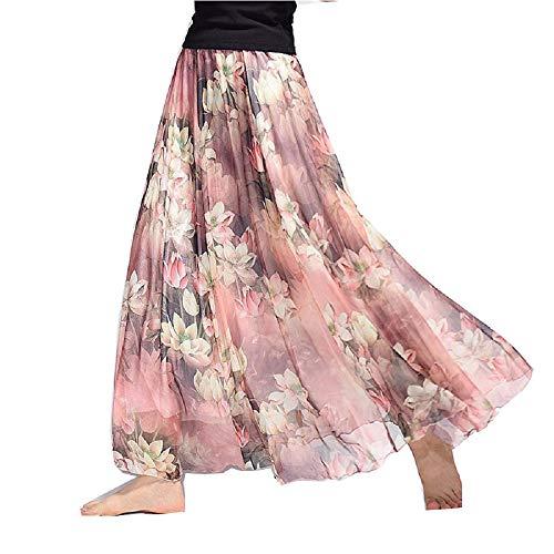 COVPAW Damen Chiffon Maxirock Boho Plissee Retro Langer Sommerrock Faltenrock Strandrock Elastische Taille Tanzrock (Rosa, Einheitsgröße)