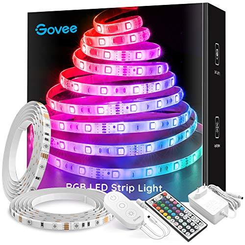 Govee Striscia LED RGB 10M, Impermeabile Cambiamento di Colore Kit Completo con 44 Tasti Telecomando IR & Alimentatore Led Strip Illuminazione per Giardino, Bar, Festa