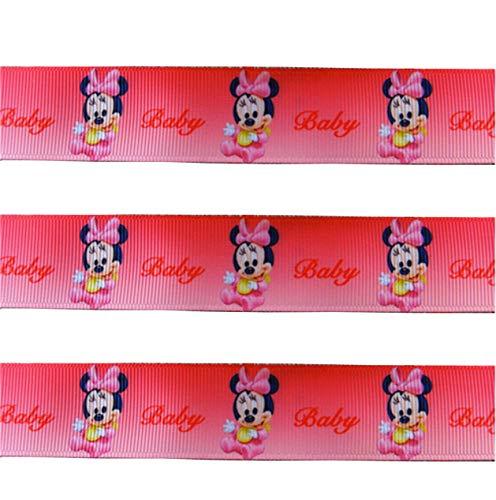 Cinta de 2 m x 22 mm, diseño de Minnie Mouse, color rosa para baby shower, recién nacido, para decoración de tartas, regalos, lazos o cajas de regalo, tarjetas de cadena, manualidades, bautizos