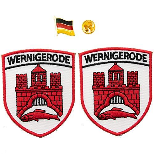 A-ONE 2 + 1 Stück Packung – Deutschland-Wernigeroden-Stickerei-Aufnäher 2 Stück + Deutschland-Flaggen-Emblem Pin 1 Stück, Sachsen-Anhalt Wernigerode Aufnäher, Anstecknadel.