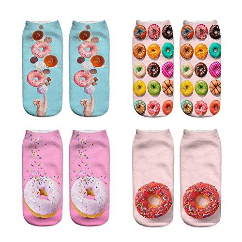 JasmineLi 4 Pairs - 3D Digital Printed Cartoon Pattern Ankle Socks Sports Casual Short Socks for Men Women