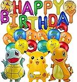 Juego de Globos de cumpleaños Banner de Feliz cumpleaños Suministros de Fiesta Decoración de Fiesta para niños Decoración de Globos de Papel de Aluminio Decoración de Fiesta de cumpleaños