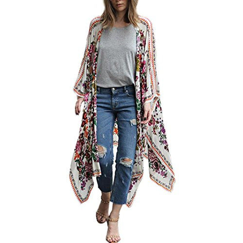 Kimono de Verano, Dragon868 Mujer Floral Gasa Suelta Kimono Bikinis Cubrir Camisas largas (XL, Blanco)