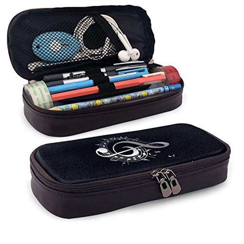 Leather Pencil Case,Music Melody Note Zippered Pen Case Stationery Bag Pencil Holder