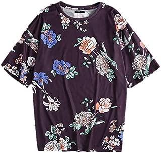 TT WARE Men Rose Print Short Sleeve T-Shirts-Purple-L