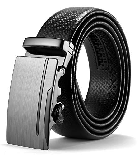 ITIEZY Herren Gürtel Ratsche Automatik Gürtel für Männer 35mm Breit Ledergürtel, Schwarz 120, Länge: Bis zu 49,21 Inches (125cm)