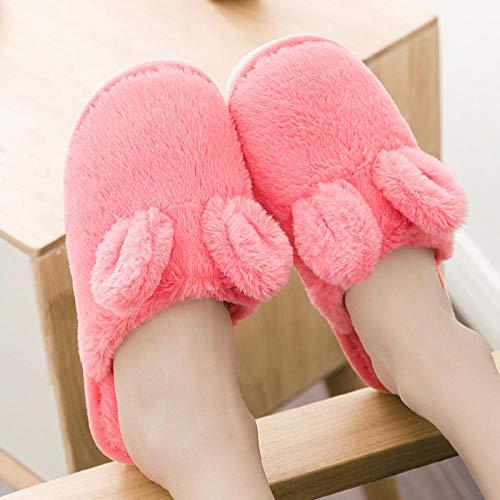 SWX-FlipFlop Par de Zapatillas de algodón par cálido Invierno Mujeres Embarazadas Tela Lana algodón Arrastre Zapatos Interiores Antideslizantes para Hombres Rosa Rojo 42/43 (Adecuado para 41/42 pies)
