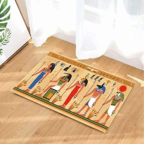 FEIYANG Art Deco Momia Mural egipcia Alfombra de baño Alfombrilla Antideslizante Puerta...