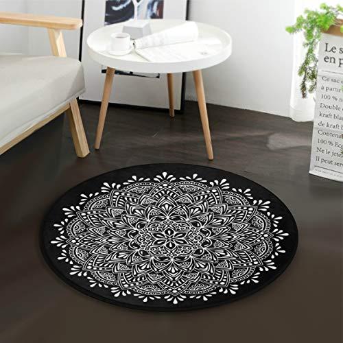 Mnsruu Mandala-Blumen-Teppich, rund, für Wohnzimmer, Schlafzimmer, Durchmesser: 92 cm, Schwarz / Weiß