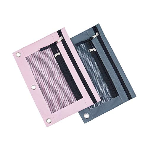 3 Rings Binder Pencil Pouch, Pencil Case with Double Pocket and Mesh Window (Grey& Pink 2pack)