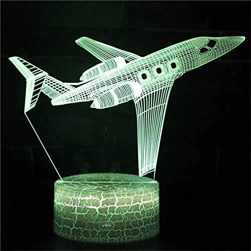 Avión de pasajeros único base agrietada acrílico luz multicolor lámpara de mesa pequeña creativa luz de noche led luz visual 3D luces de decoración de dormitorio y habitación