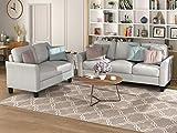 Merax Living Room Furniture, Modern Linen Fabric Upholstered Sofa Set with Thick Foam, 3-seat+Loveseat, Light Gray