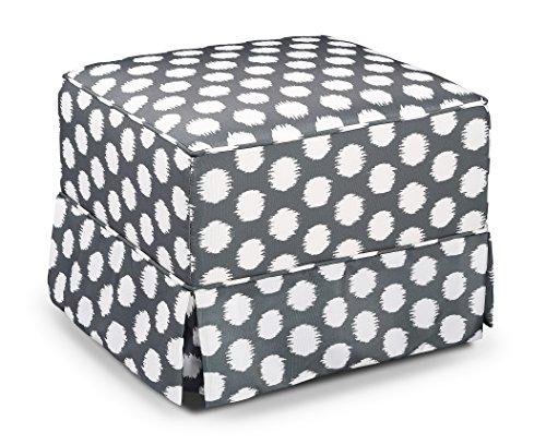 Storkcraft Polka Dot Upholstered Ottoman, Gray/White, Cleanable Upholstered Comfort Rocking Nursery Ottoman