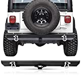 Rear Bumper for Jeep Wrangler TJ & YJ, AAIWA Rock Crawler Bumper with 2' Hitch Receiver & D-Rings Compatible for 87-06 Jeep Wrangler TJ & YJ Off Road, Textured Black