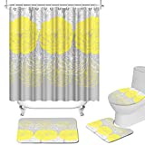 Yellow and Gray Shower Curtains Set with Rug Abstract Yellow White Flower Pattern Waterproof Fabric Bathroom Curtains with Non-Slip Rug Toilet Lid Cover Bath Mat and 12 Hooks