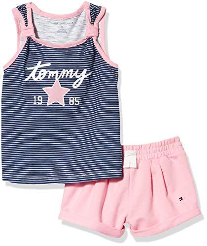 Tommy Hilfiger Girls' 2 Pieces Shorts Set, Navy Stripes/Pink, 4