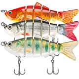 Lifelike Fishing Lures for Bass, Trout, Walleye, Predator Fish - Realistic Multi Jointed Fish Popper...