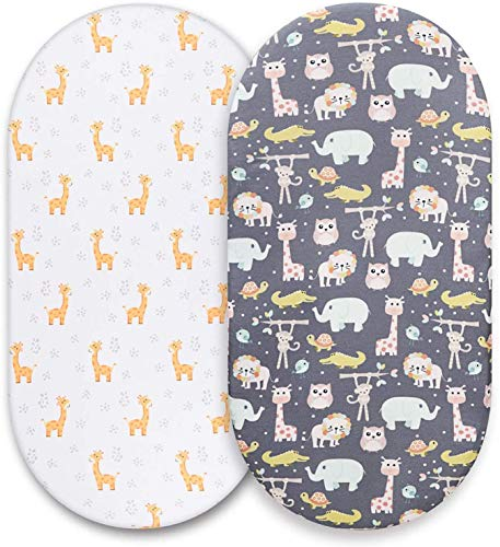 Momcozy Universal Moses Basket Sheets Fitted 2 Pack 74x28cm/67x30cm/65x28cm/80x46cm, Cot Bed Sheets Crib Mattress Cover Mattress Protector for Boys & Girls, Fits Mother Nurture, Träumeland, Alvi