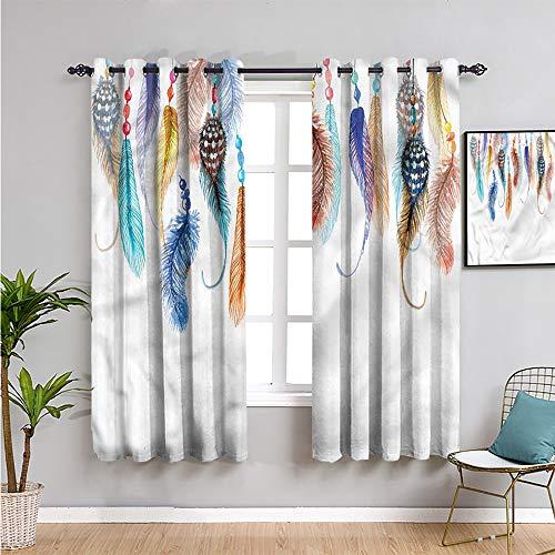 Pcglvie Cortina hippie linda cortina, 99 cm de largo, diseño de águila, pájaro, bohemio, fácil de instalar, 54 x 39 pulgadas
